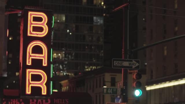 bar sign, neon, night, city - nightlife stock videos & royalty-free footage