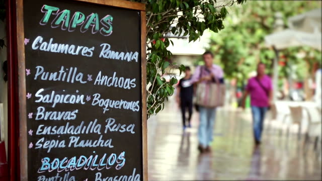 bar tapas menu sign in valencia - spain stock videos & royalty-free footage