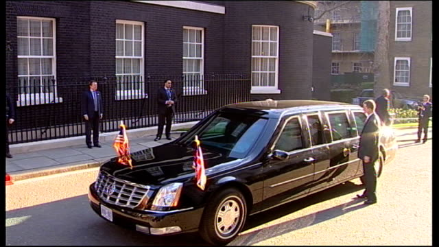 barack and michelle obama arriving at downing street / obamas and browns photocall / hillary clinton arriving england london downing street ext black... - brown stock videos & royalty-free footage