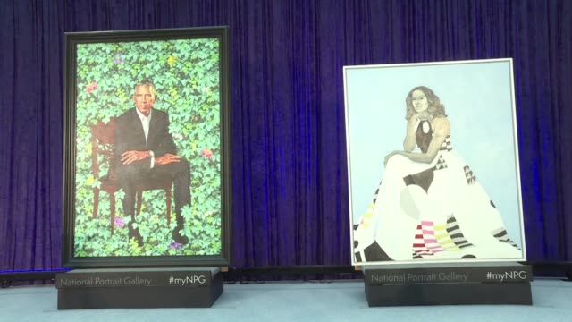 Barack and Michelle Obama unveil their official portraits in a ceremony attended by family former administration members and even celebrity friends...