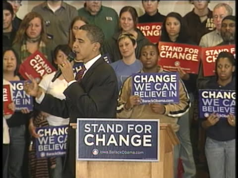 barack obama addresses the audience at a political rally in waterloo, iowa. - 2008 stock videos & royalty-free footage