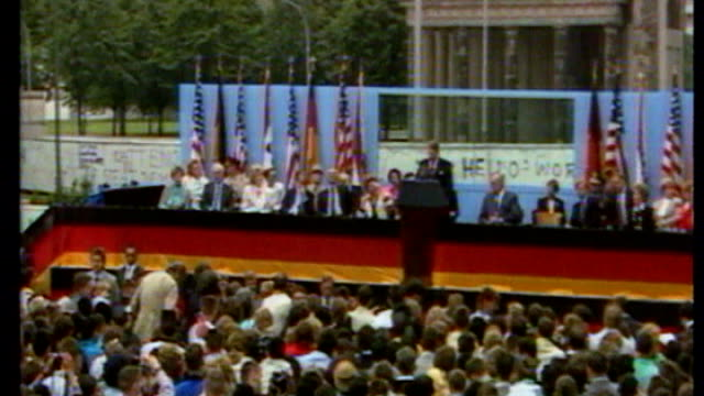 barack obama allowed to address berlin crowds from brandenburg gate s23100601 ronald reagan and wife nancy reagan arrive reagan on stage in front of... - 1987 stock videos & royalty-free footage