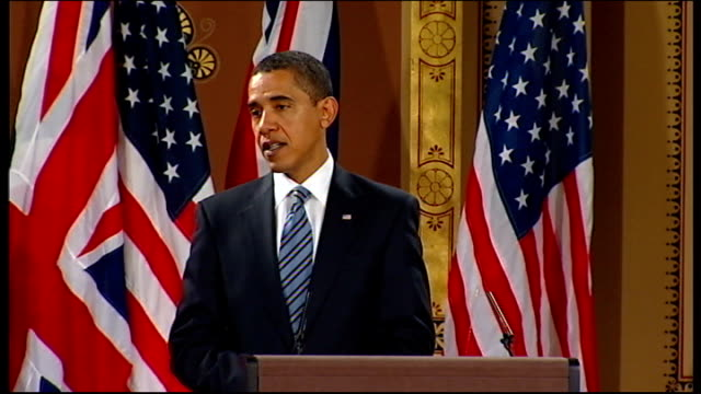 barack obama and gordon brown press conference at foreign office barack obama answering question sot i do think that gordon is absolutely right how... - muscular contraction stock videos and b-roll footage