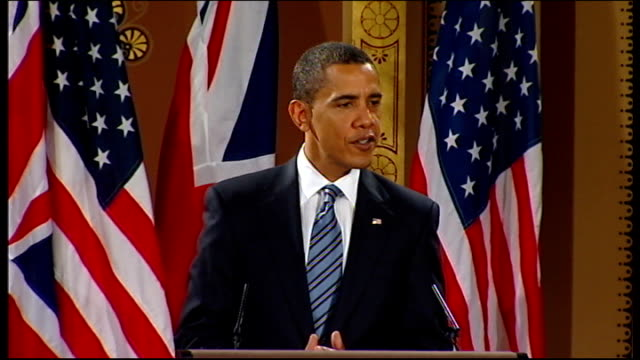 barack obama and gordon brown press conference at foreign office barack obama answering question sot well i think that each family has got to look at... - health and safety点の映像素材/bロール