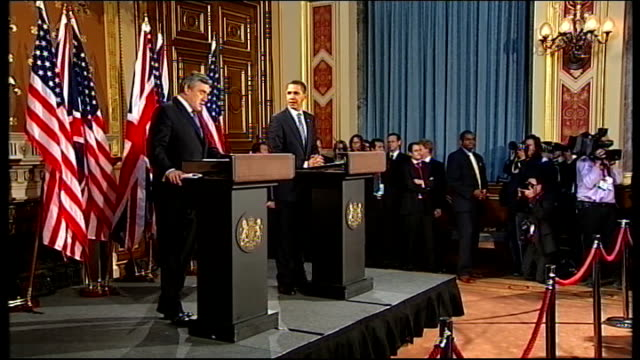 barack obama and gordon brown press conference at foreign office; england: london: foreign office: locarno room: int gordon brown mp and barack obama... - wall street crash of 1929 stock videos & royalty-free footage