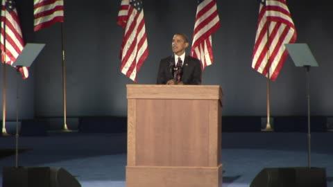 barack obama concluding his acceptance speech in grant park, chicago on november 4, 2008 / united states / audio - 2008 bildbanksvideor och videomaterial från bakom kulisserna