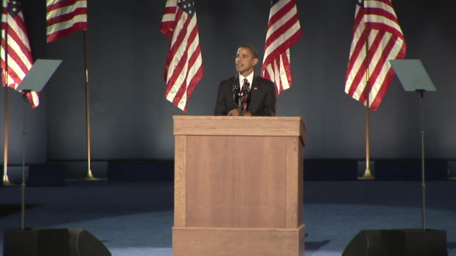 barack obama concluding his acceptance speech in grant park, chicago on november 4, 2008 / united states / audio - rede stock-videos und b-roll-filmmaterial