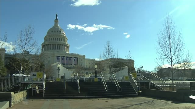 Barack Obama gives final news conference as President Washington EXT Wide shot of Capitol Building with stage set for inauguration