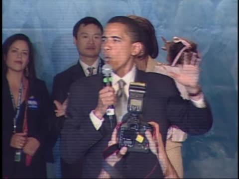 barack obama gives his acceptance speech upon election as u.s. senator-elect from illinois in 2004. - 2004 bildbanksvideor och videomaterial från bakom kulisserna