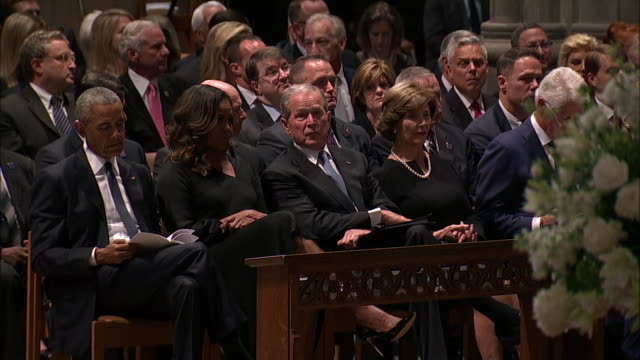 barack obama, michelle obama, george w. bush, laura bush, and bill clinton sit during the funeral for john mccain on september 1, 2018 in washington... - laura bush stock videos & royalty-free footage