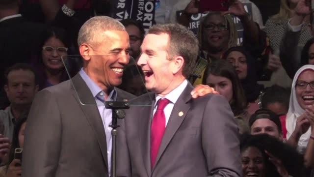 barack obama regreso a los escenarios politicos el jueves para apoyar a dos candidatos democratas a gubernaturas - politica stock videos & royalty-free footage