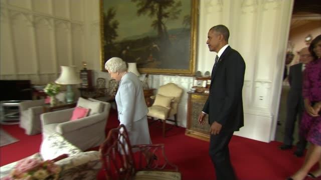 Barack Obama visit to Britian / EU Referendum Obama urges UK to remain in EU Windsor Castle INT Queen Elizabeth and Barack Obama into room Queen...