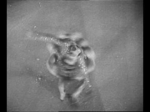 vídeos de stock e filmes b-roll de barbara ann scott skates onto rink at ice show / tilt-down shot scott twirls, stops, looks up, smiles / black / end credits / from greatest headlines... - forma de água