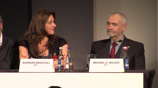 barbara broccoli and micheal g wilson on how the financial problems have effected the production at the bond 23 launch press conference skyfall at... - skyfall stock videos and b-roll footage