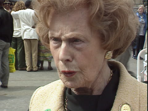barbara castle talks about the antiapartheid campaign in the uk during the celebrations for the first free elections in south africa - bbc archive stock-videos und b-roll-filmmaterial