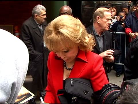 barbara eden signs autographs for fans as she departs 'good morning america' in new york 04/04/11 - autogramm stock-videos und b-roll-filmmaterial