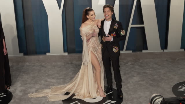 barbara palvin and dylan sprouse at 2020 vanity fair oscar party hosted by radhika jones at wallis annenberg center for the performing arts on... - oscar party stock videos & royalty-free footage
