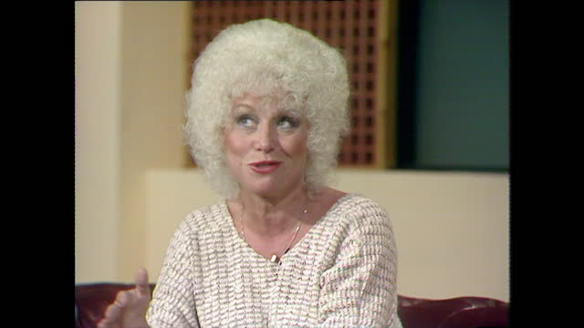 barbara windsor recalls having elocution lessons at a theatre school as a child; 1983. - nostalgia stock videos & royalty-free footage