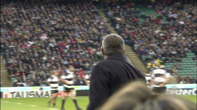 barbarian coach nick mallett calls out something to the baabaas south africa kicks a penalty kick over the touchline to set up a lineout - lineout stock videos and b-roll footage