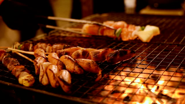 barbecue chicken beef and pork grill - kebab stock videos and b-roll footage
