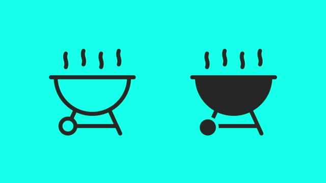 barbecue grill icons - vector animate - alla griglia video stock e b–roll