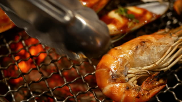 barbecue grill on the table - lobster seafood stock videos and b-roll footage