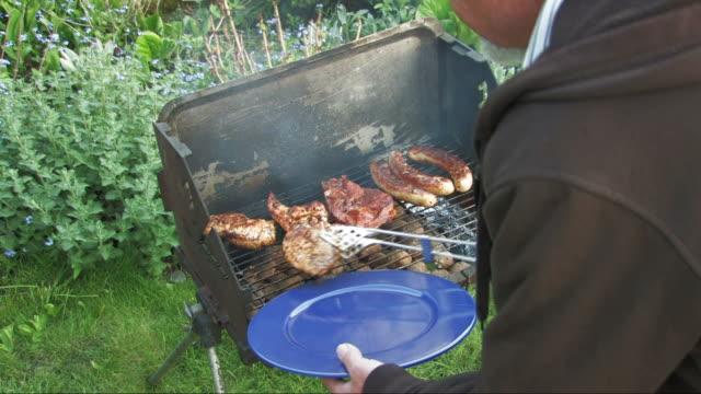 griglia per barbecue - pollo alla brace video stock e b–roll