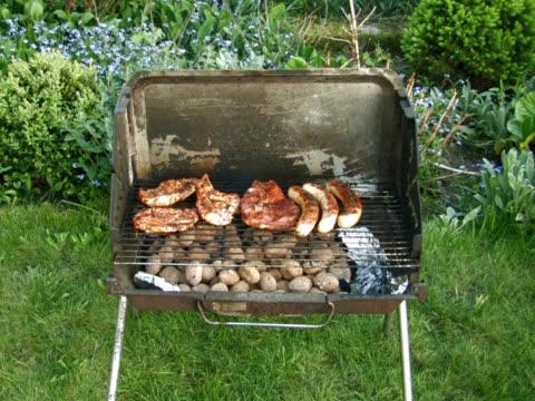 pal: barbecue-grill - kotelett stock-videos und b-roll-filmmaterial