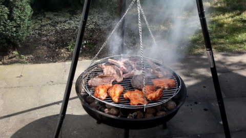 barbecue grill - medium group of objects stock videos & royalty-free footage
