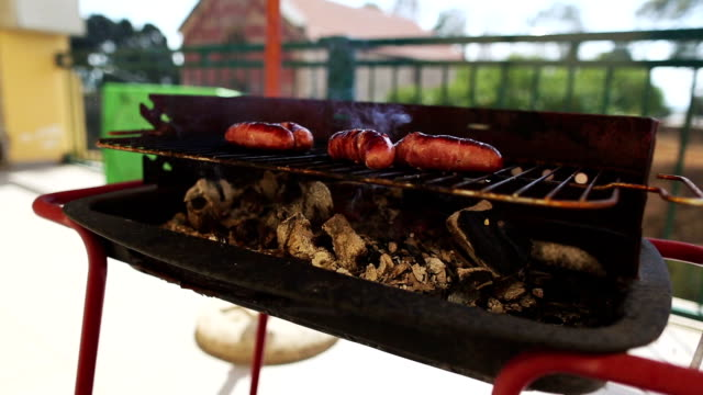 bbq barbecue on the terrace - briquette stock videos & royalty-free footage