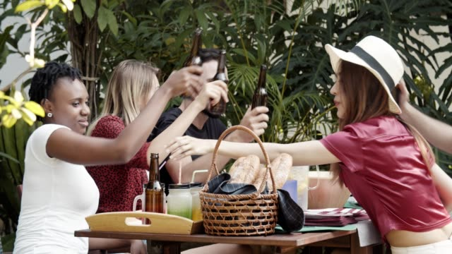 barbecue party outdoor - beer bottle stock videos & royalty-free footage