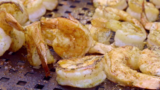 barbecue shrimp on a charcoal grill with flames - coal stock videos & royalty-free footage