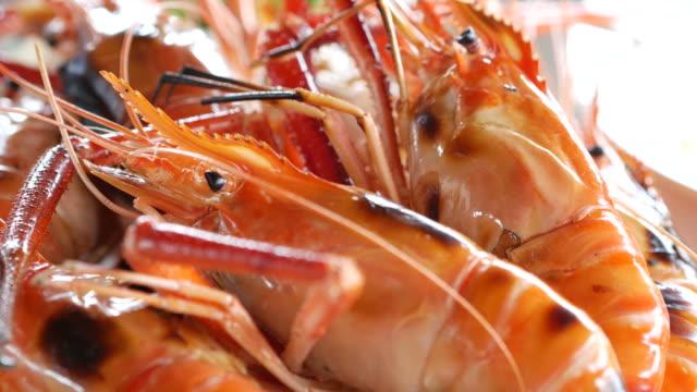 barbecue shrimp - prawn stock videos & royalty-free footage