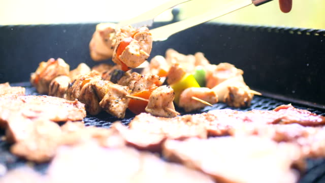 Barbecue With Delicious Grilled Meat On Grill. Barbecue Party.