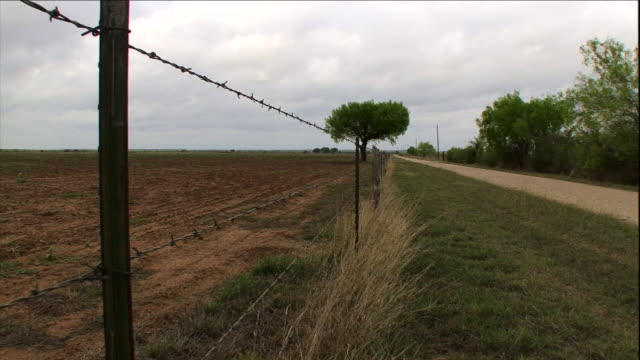 a barbed wire fence and leafy trees border a dirt road. - barbed wire stock videos & royalty-free footage