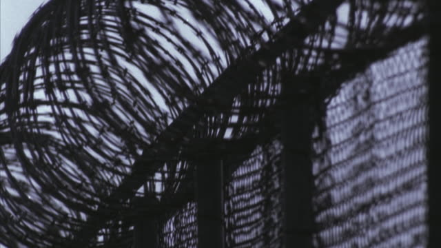 CU Barbed wire fence outside Sacramento State Prison / Folsom, California, USA