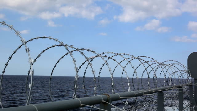 barbed wire for ship protection - aden stock videos & royalty-free footage