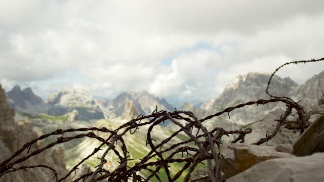 barbed wire - tre cimo di lavaredo stock videos & royalty-free footage