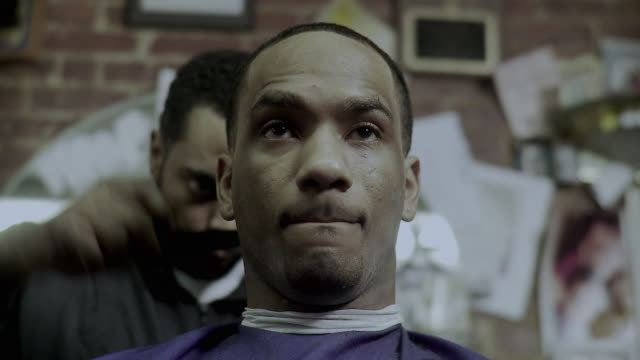 cu barber cutting man's hair in barber shop, brooklyn, new york city, new york state, usa - see other clips from this shoot 1437 stock videos and b-roll footage