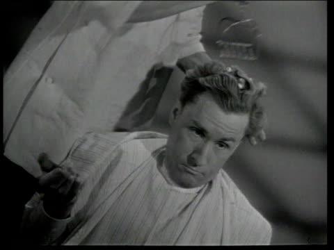 1947 MONTAGE Barber giving customers odd shampoos including olive oil, lemon, egg and beer / United States