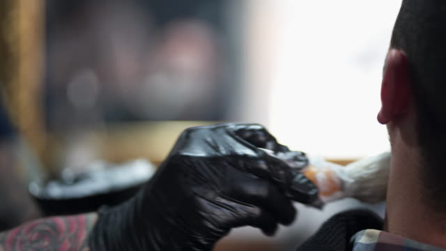 barber shaving a clients beard - shaving brush stock videos & royalty-free footage