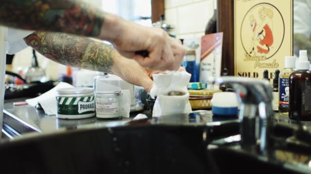 barber using shaving scuttle - shaving brush stock videos & royalty-free footage
