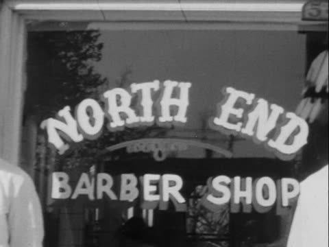 1950 montage b/w barbers standing outside 'north end' barber shop/ barber cutting customer's hair/ greenwood, tulsa, oklahoma, usa - barber stock videos & royalty-free footage
