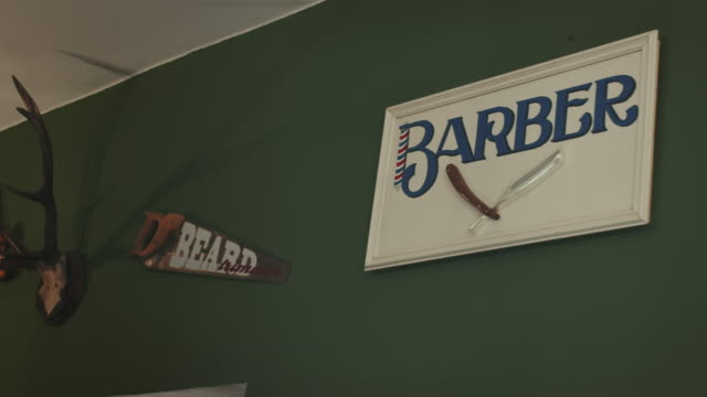barbershop interior - movember stock videos & royalty-free footage