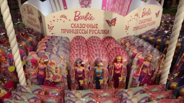 barbie doll toys for sale in the new hamleys plc toy store on its opening day in moscow russia on tuesday march 31 gvs of different departments in... - doll stock videos & royalty-free footage