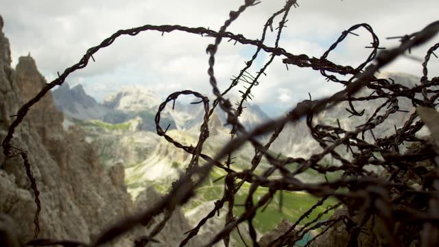barbwire, chain of alps - tre cimo di lavaredo stock videos & royalty-free footage
