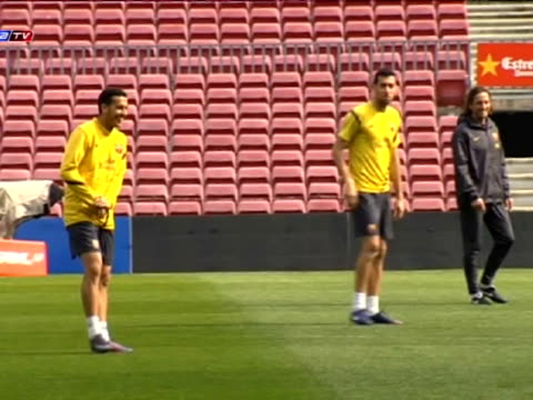 barcelona 3 mar fc barcelona team held the last training session at camp nou stadium ahead spanish league clash with sporting gijon this evening... - tibia stock videos & royalty-free footage