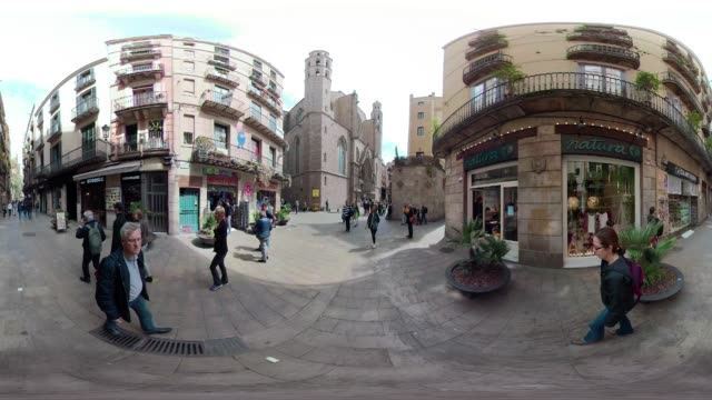 stockvideo's en b-roll-footage met barcelona 360 degree video cathedral santa maria del mar. old town gothic district. vr equirectangular panorama - mar