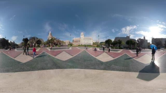 Barcelona 360 degree video of Plaza Catalunya. VR equirectangular panorama