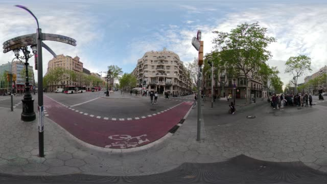 Barcelona 360 video Casa Mila La Pedrera by Gaudi. VR equirectangular panorama. Paseo de Gracia